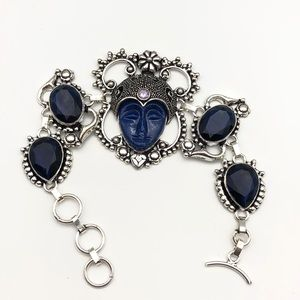 Balinese Bracelet Blue Faced With Blue Quartz